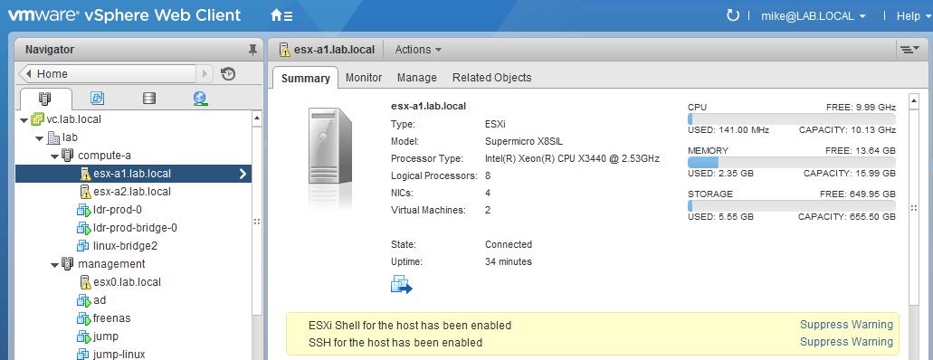 Suppressing ESXi Shell and SSH Warnings – vswitchzero