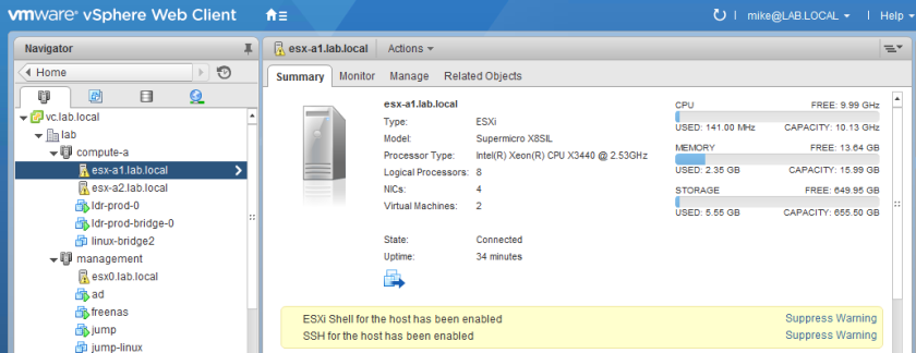 ESXi Shell and SSH warning banners